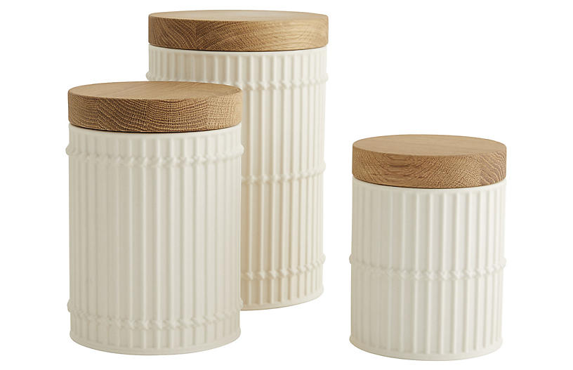S/3 Palm Canister, White/Natural