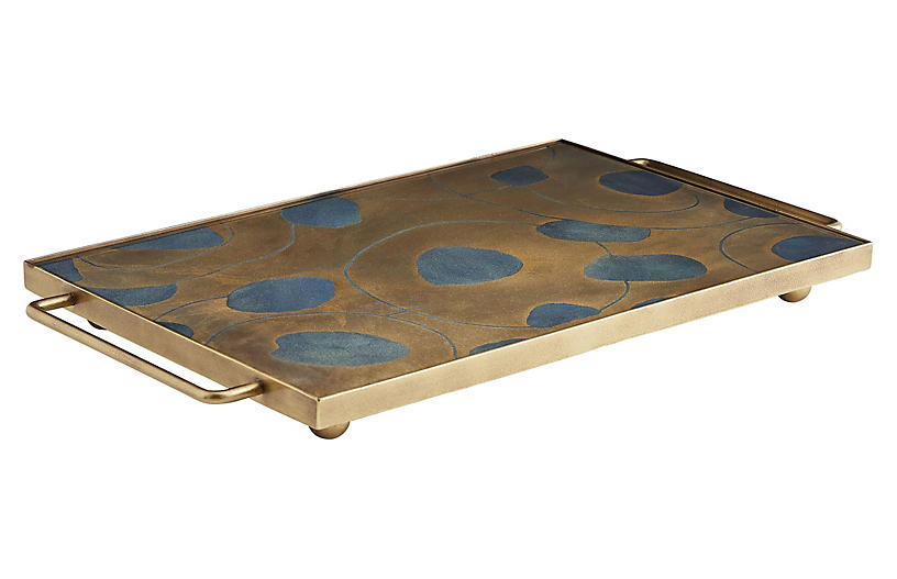 Emilia Tray, Charcoal/Antiqued Gold