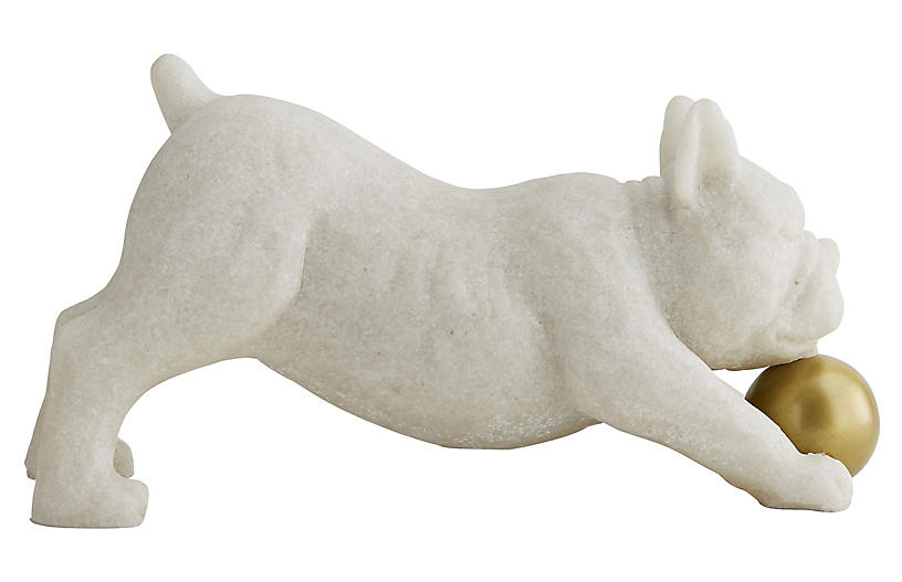 Henry Sculpture, White/Gold