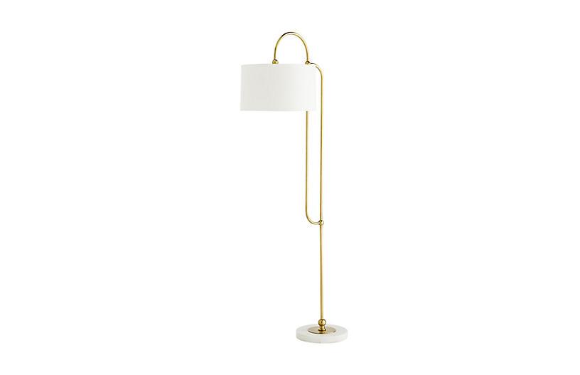 Dorchester Floor Lamp, Antique Brass