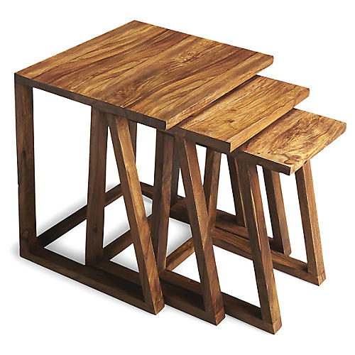 Asst. of 3 Maud Nesting Tables, Sheesham