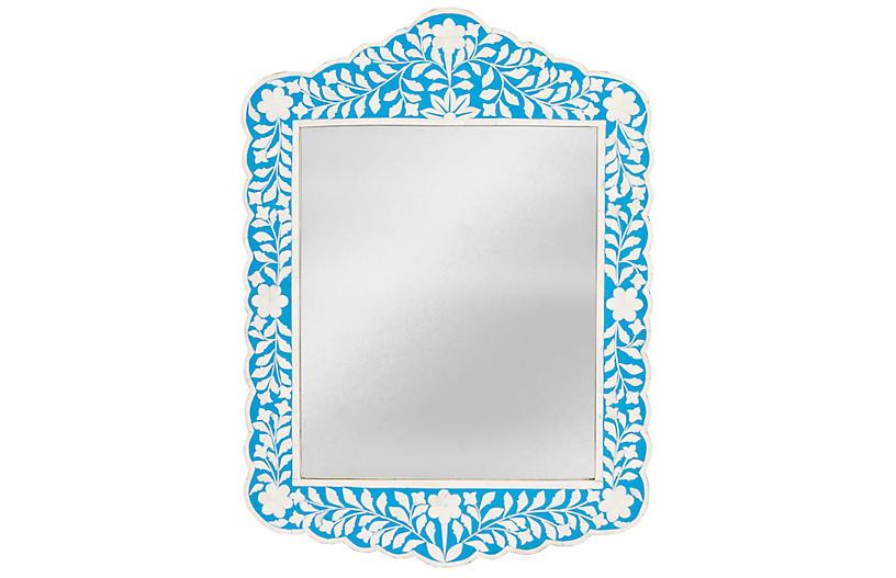 Bianca Bone Inlay Wall Mirror, Blue/Ivory