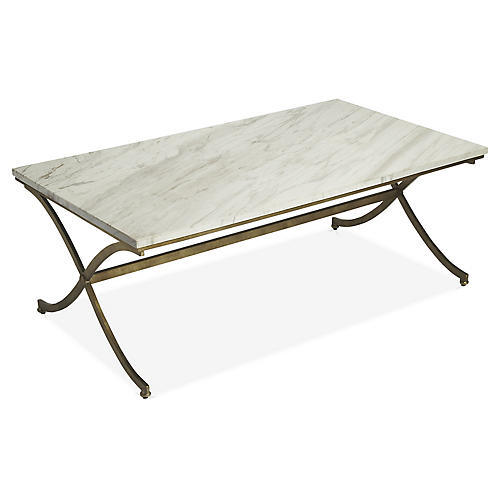 Jay Coffee Table, Ivory/Gold