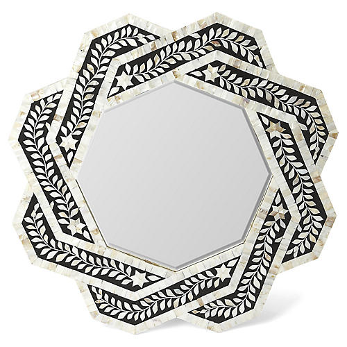 Crestwood Mother-of Pearl Wall Mirror, Black/Ivory