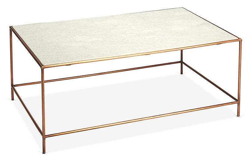 Kendall Coffee Table, White/Rose Gold