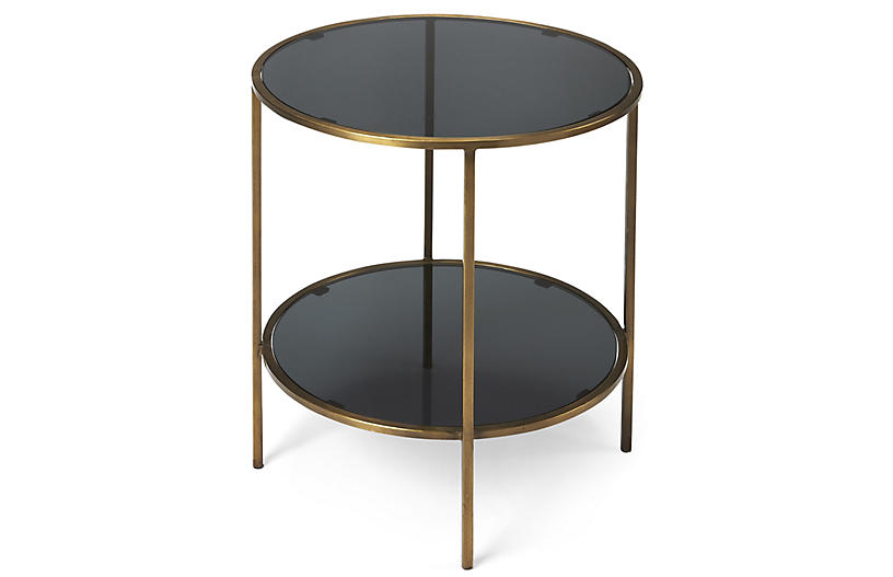 Cavali Side Table, Antiqued Gold