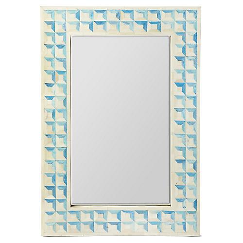 Edgehill Bone-Inlay Wall Mirror, Blue/Ivory