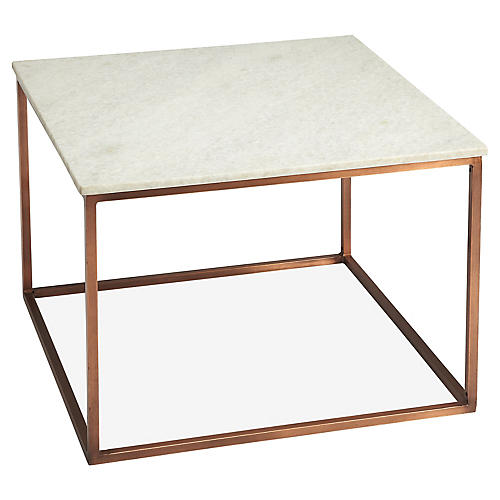 Sabella Coffee Table, White/Bronze