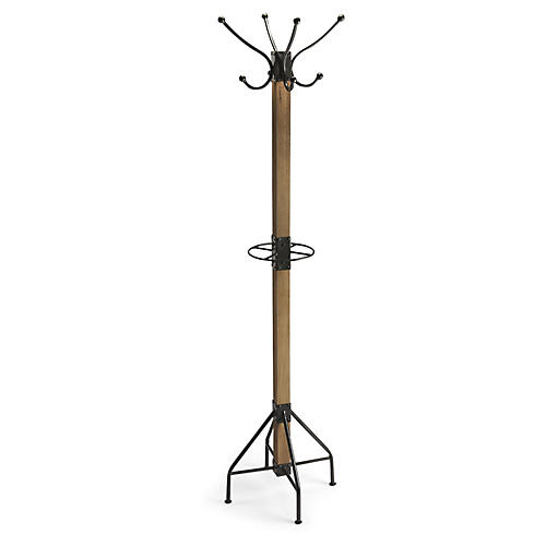 Alden Coat Rack, Black/Natural