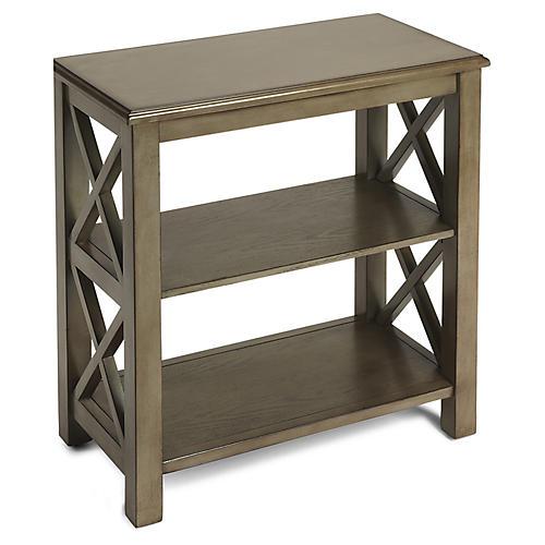 Minson Bookcase, Silver Satin