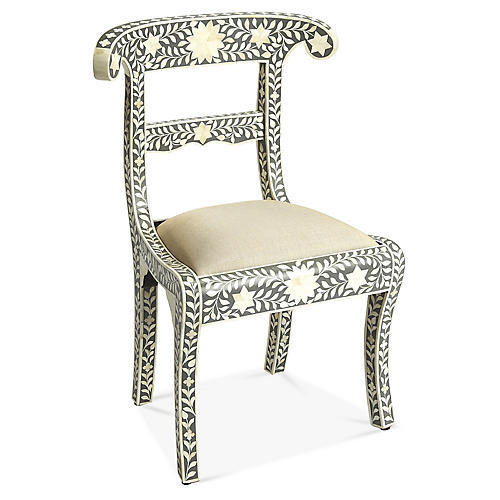 Elista Side Chair, Gray/White
