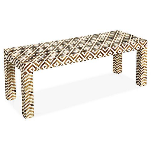 Paige Coffee Table, Ivory/Teak