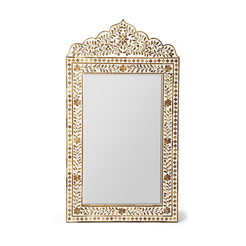 Lambeth Teak-Inlay Wall Mirror, Ivory