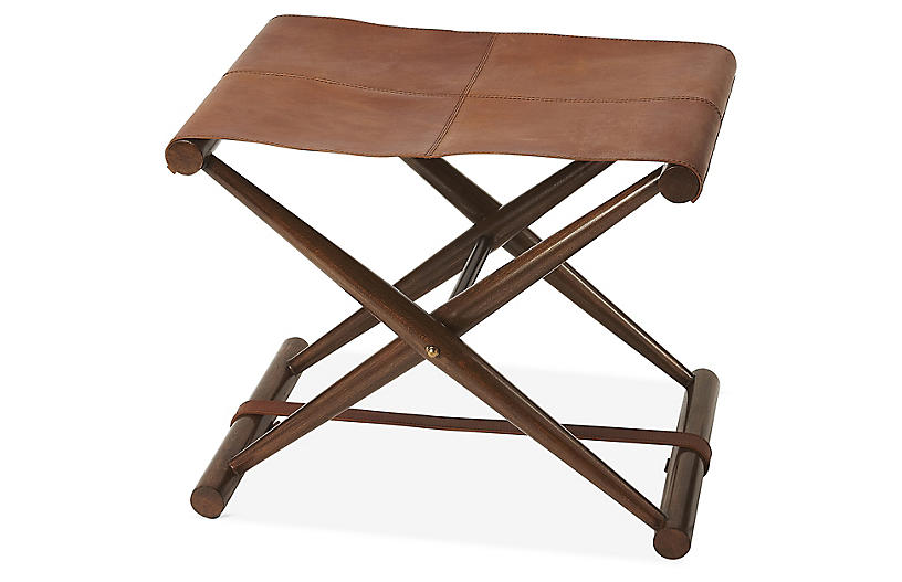 Como Folding Stool, Medium Brown Leather
