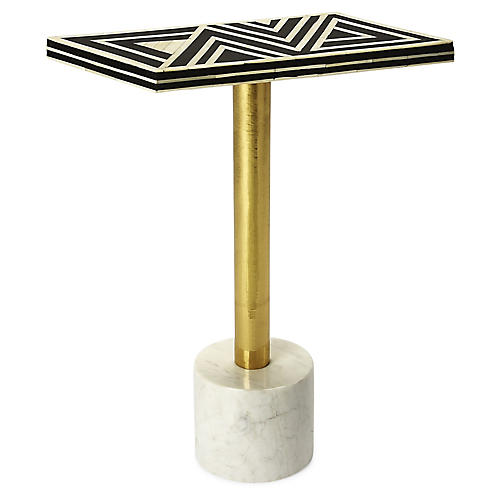Vance Side Table, Black/White