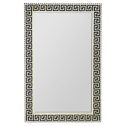 Maynard Bone-Inlay Wall Mirror, Black/Ivory