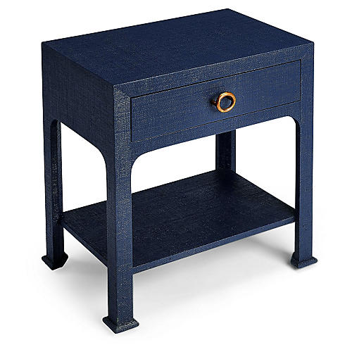 Kos 1-Drawer Raffia Nightstand, Navy