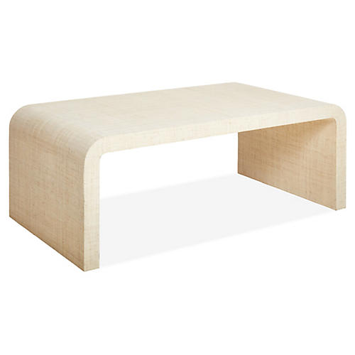 Kos Raffia Waterfall Coffee Table, Natural