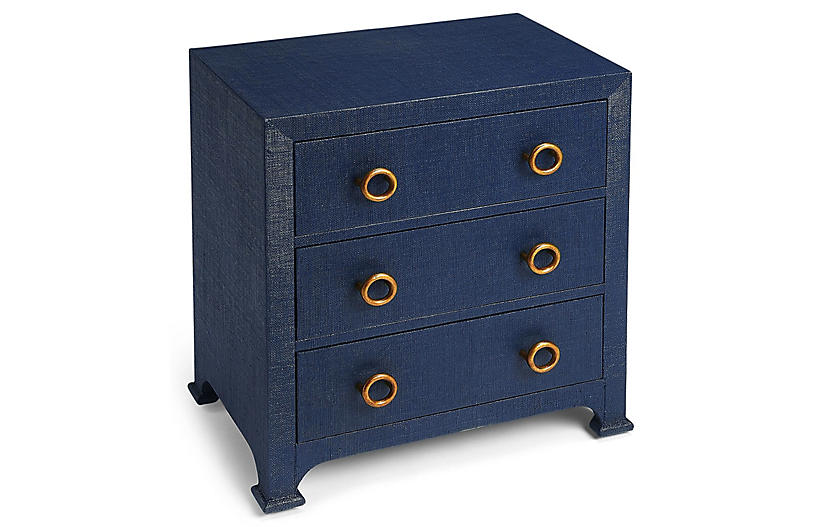 Kos 3-Drawer Raffia Nightstand, Navy