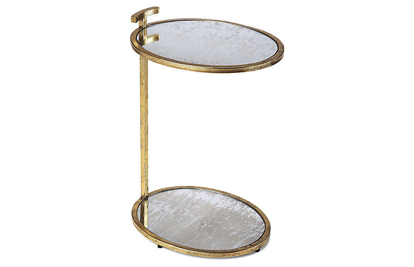 Fairlawn Side Table, Antiqued Brass