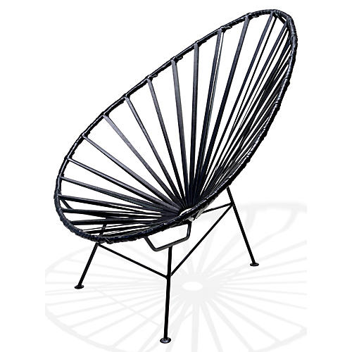 Acapulco Lounge Chair, Black Leather