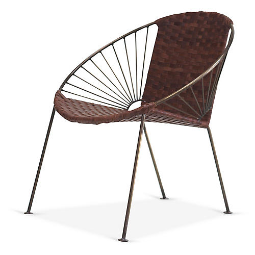 Ixtapa J Lounge Chair, Brass/Tobacco Leather