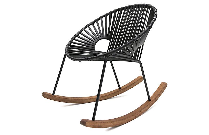 Ixtapa Rocking Chair, Black Leather