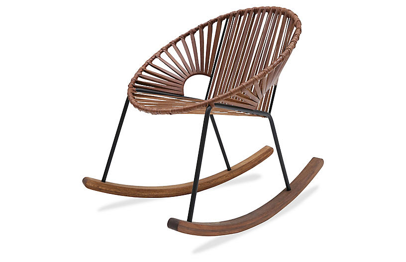 Ixtapa Rocking Chair, Tobacco Leather