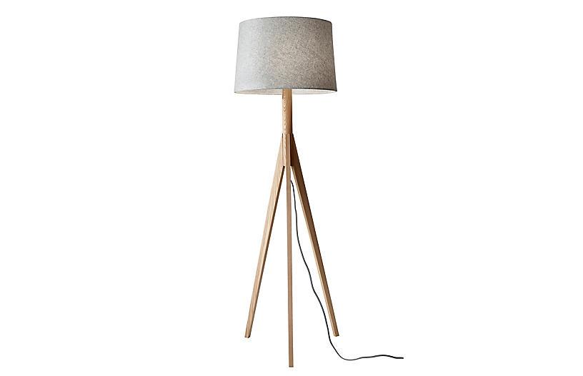 Eva Tripod Floor Lamp, Natural