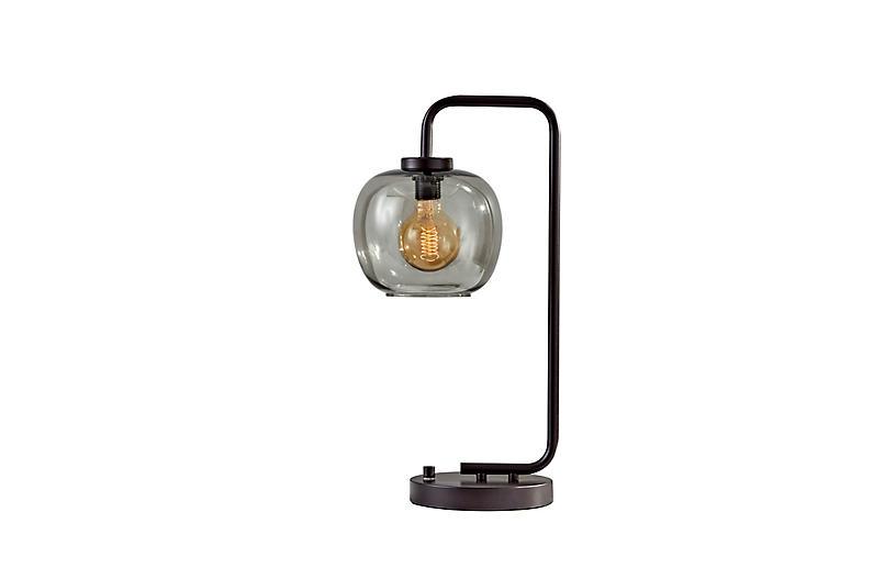 Nolan Table Lamp, Black/Smoked Glass