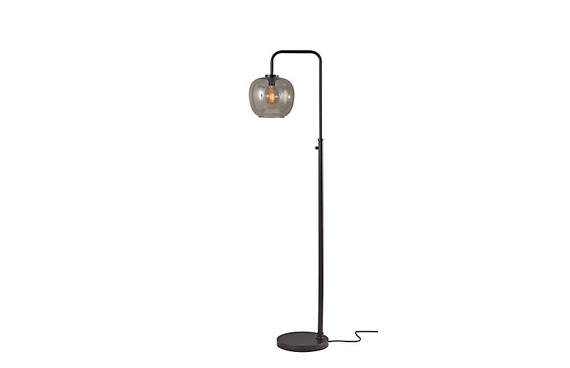 Axel Floor Lamp, Black/Smoked Glass