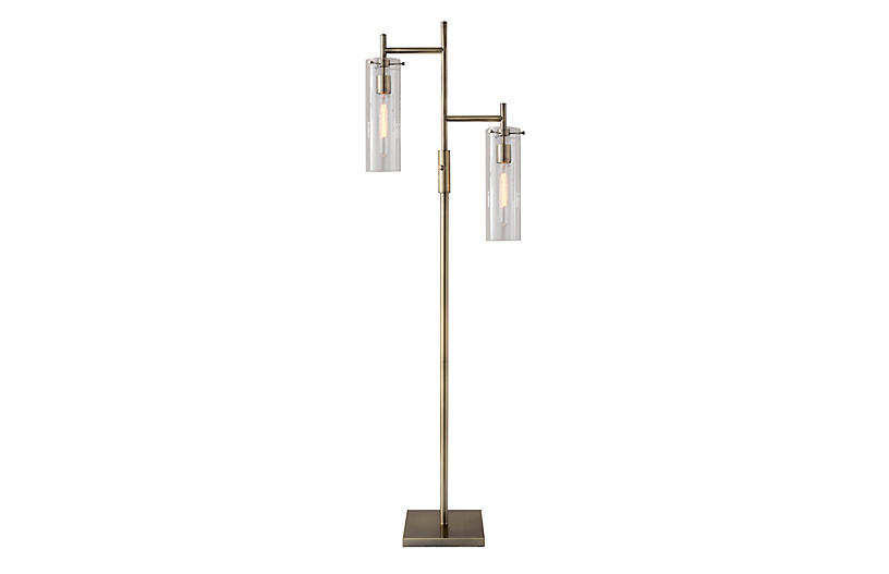 Zenon Floor Lamp, Antique Brass