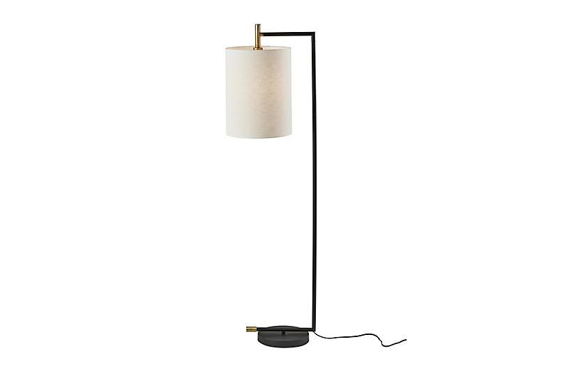Rowan Floor Lamp, Black/Antique Brass
