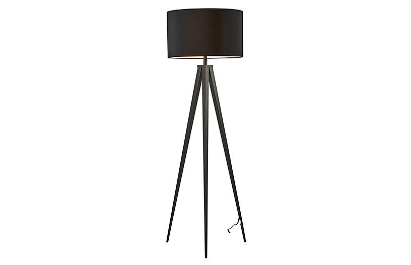 Dayle Tripod Floor Lamp, Black