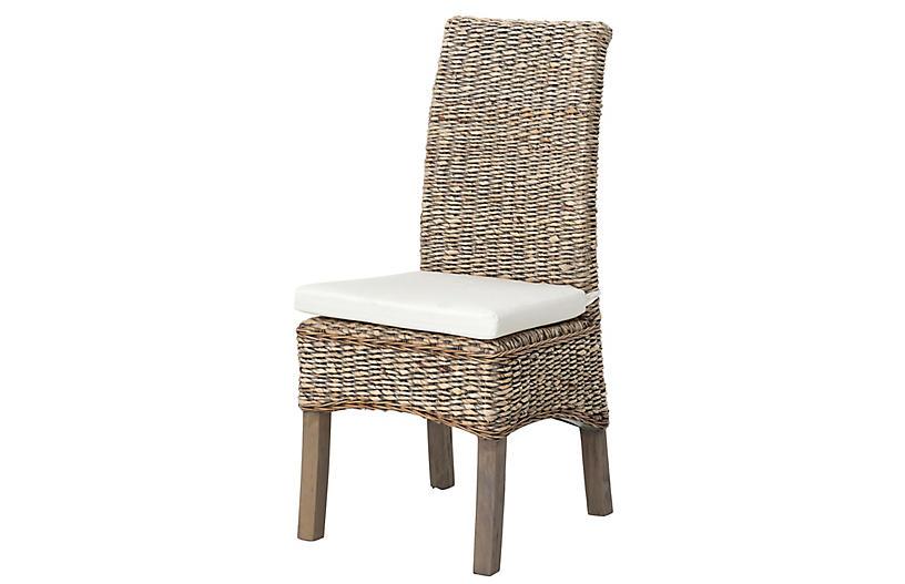 Mae Banana-Leaf Dining Chair, Gray/Cream