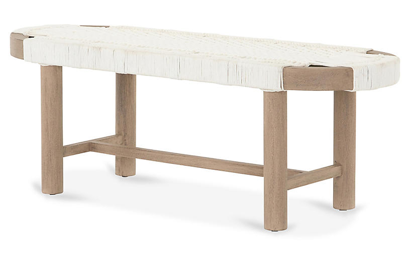 Arlo Outdoor Bench, Washed Brown