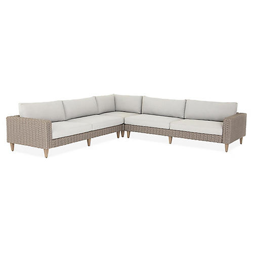 Remi 3-Pc Sectional, Stone Gray