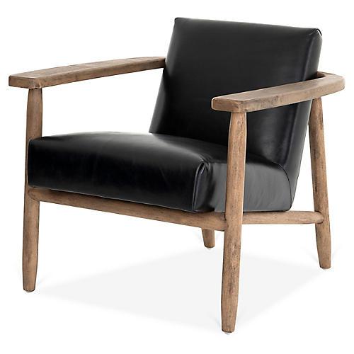 Emette Accent Chair, Black Leather