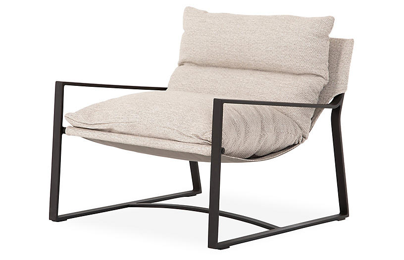 Allie Outdoor Sling Chair, Faye Sand/Bronze