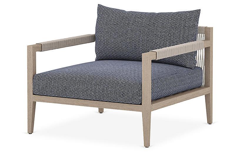 Nixon Outdoor Chair, Brown/Navy