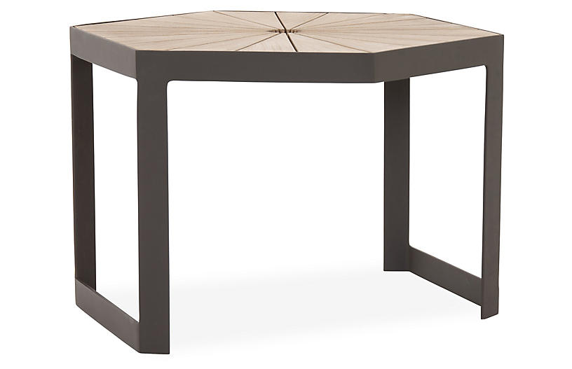 Alek Outdoor Bunching Table, Bronze/Washed Brown