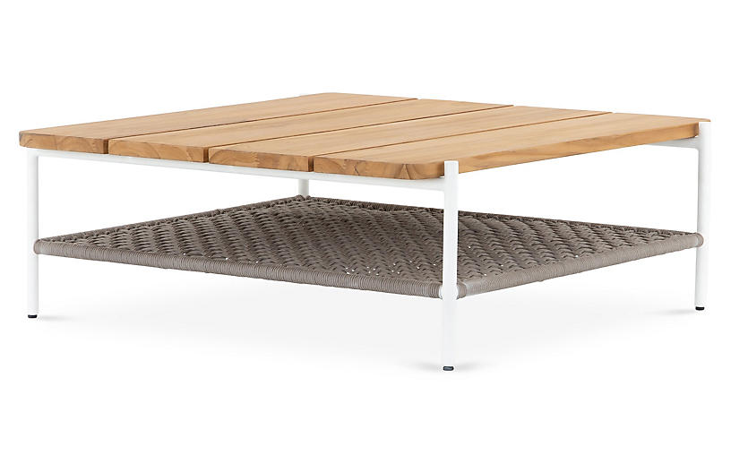 Andi Outdoor Coffee Table, White/Natural