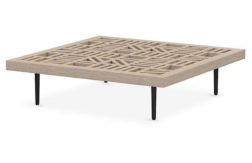 Carter Outdoor Coffee Table, Washed Brown/Bronze