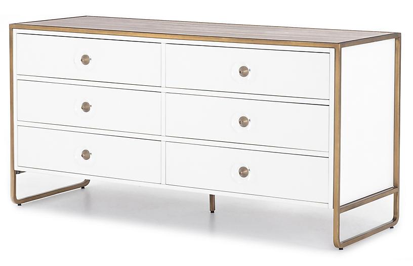 Tracey Boyd Christopher 6-Drawer Dresser, White/Antique Brass