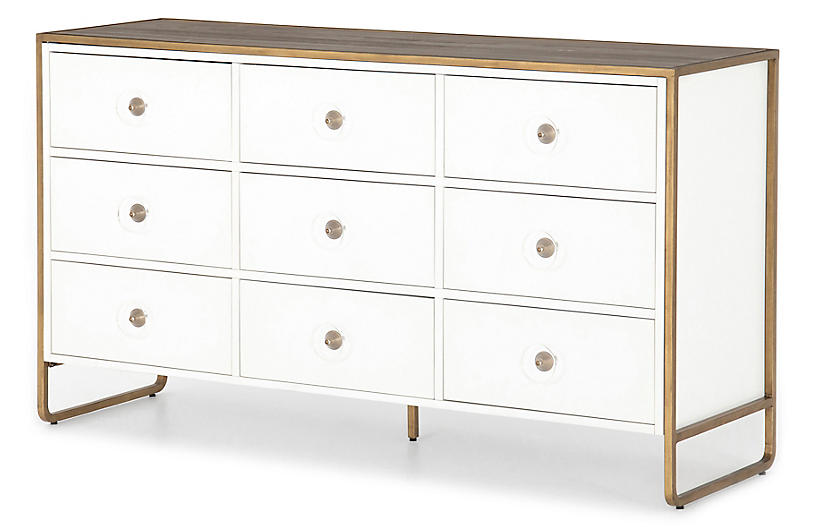 Tracey Boyd Christopher 9-Drawer Dresser, White/Antique Brass