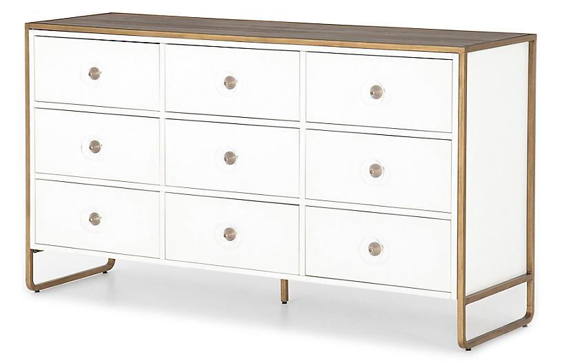 Tracey Boyd Christopher 9-Drawer Dresser, White/Antique Brass