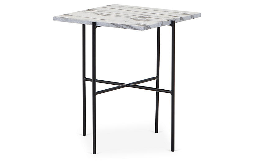 Bryant Side Table, White Stone