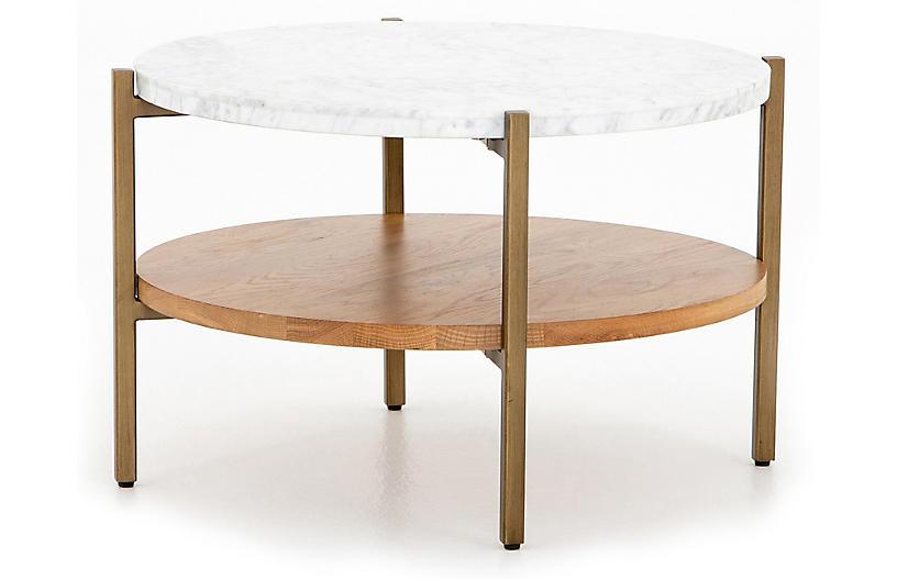 Sofia Round Marble Coffee Table, Golden Brass/White