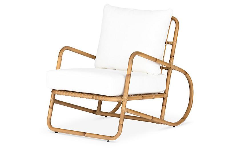 Michelle Outdoor Chair, Rattan/Stinson White