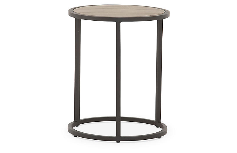 Alda Outdoor End Table, Washed Brown/Bronze